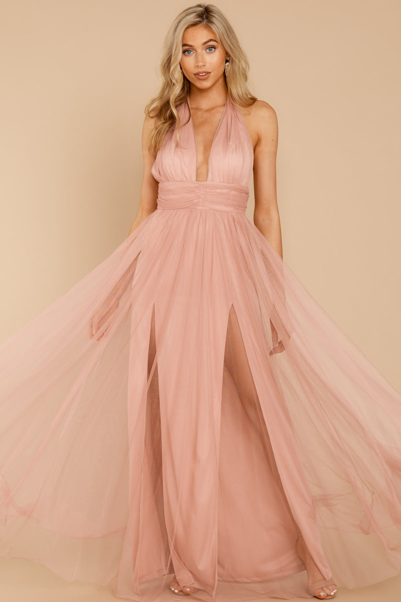 ff7aa639c7 Elegant Pink Tulle Gown - Backless Formal Maxi Dress - Dress ...