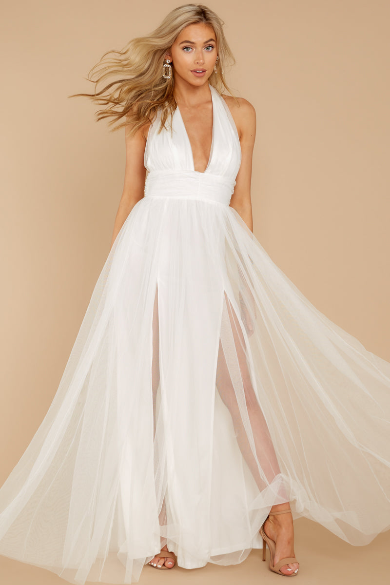 0b6ab10118 Dazzling White Tulle Gown - Backless Formal Maxi Dress - Dress - $54 ...
