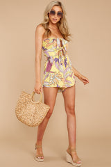 2 Clearly Devoted Yellow Multi Print Romper at reddressboutique.com