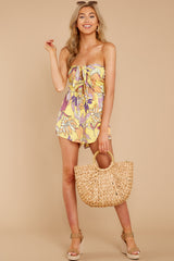 3 Clearly Devoted Yellow Multi Print Romper at reddressboutique.com