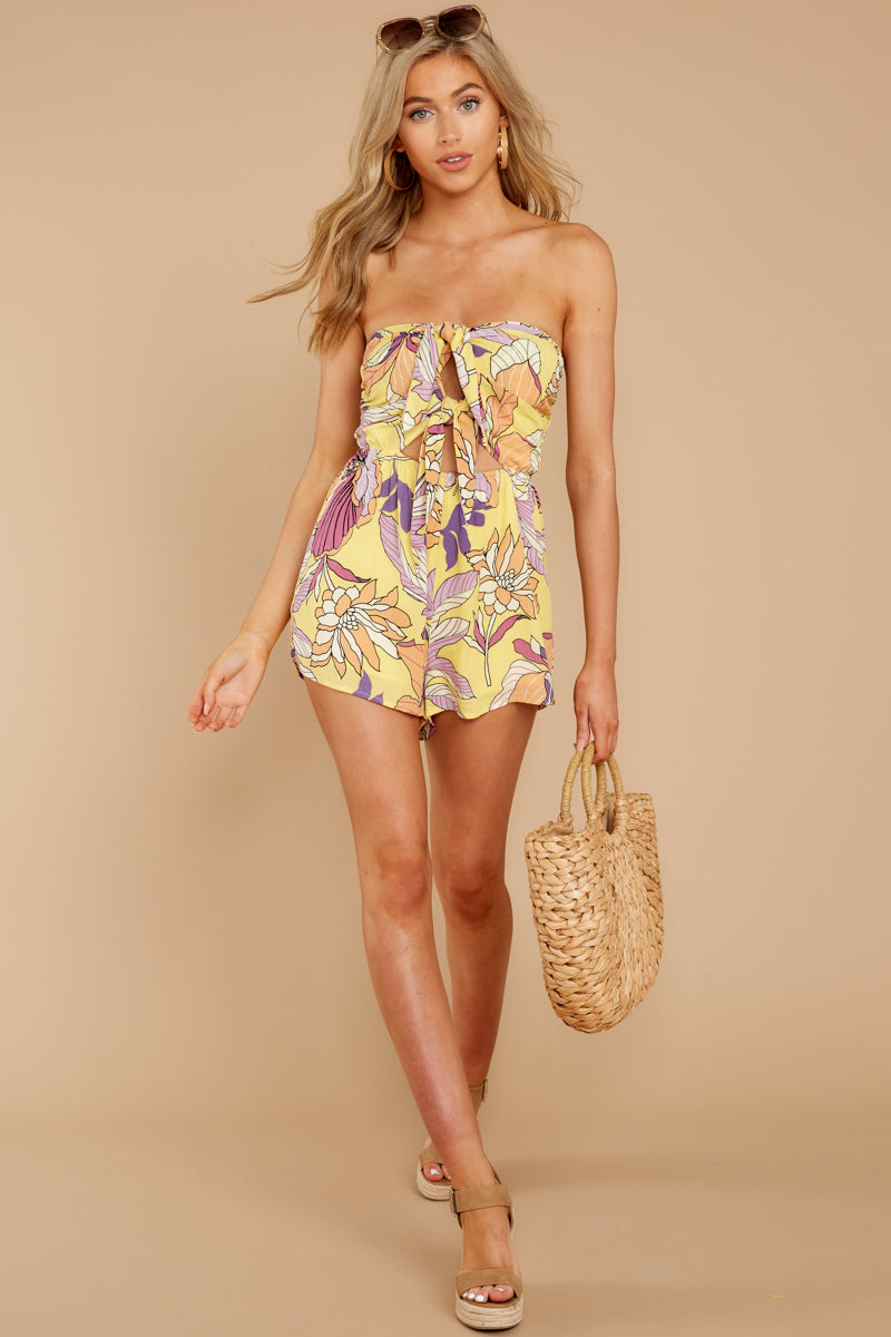 4 Clearly Devoted Yellow Multi Print Romper at reddressboutique.com