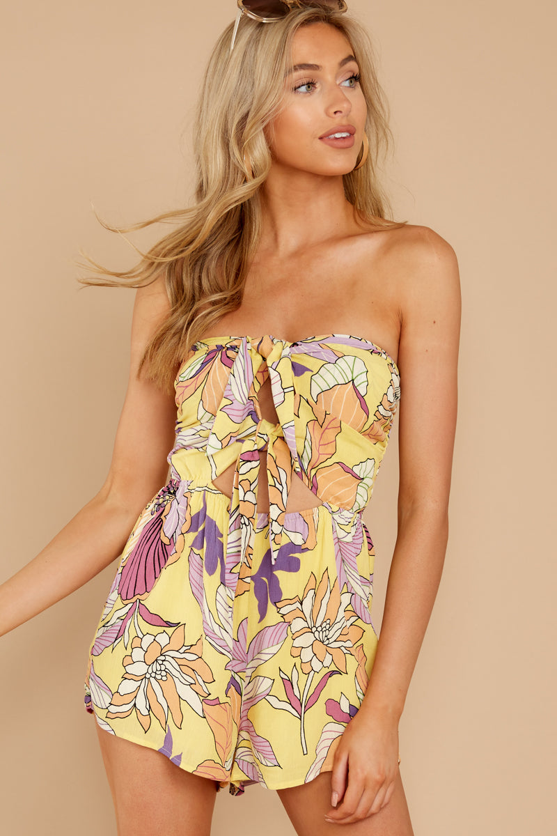 5 Clearly Devoted Yellow Multi Print Romper at reddressboutique.com