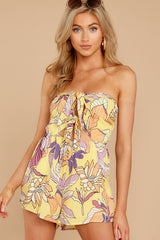 6 Clearly Devoted Yellow Multi Print Romper at reddressboutique.com