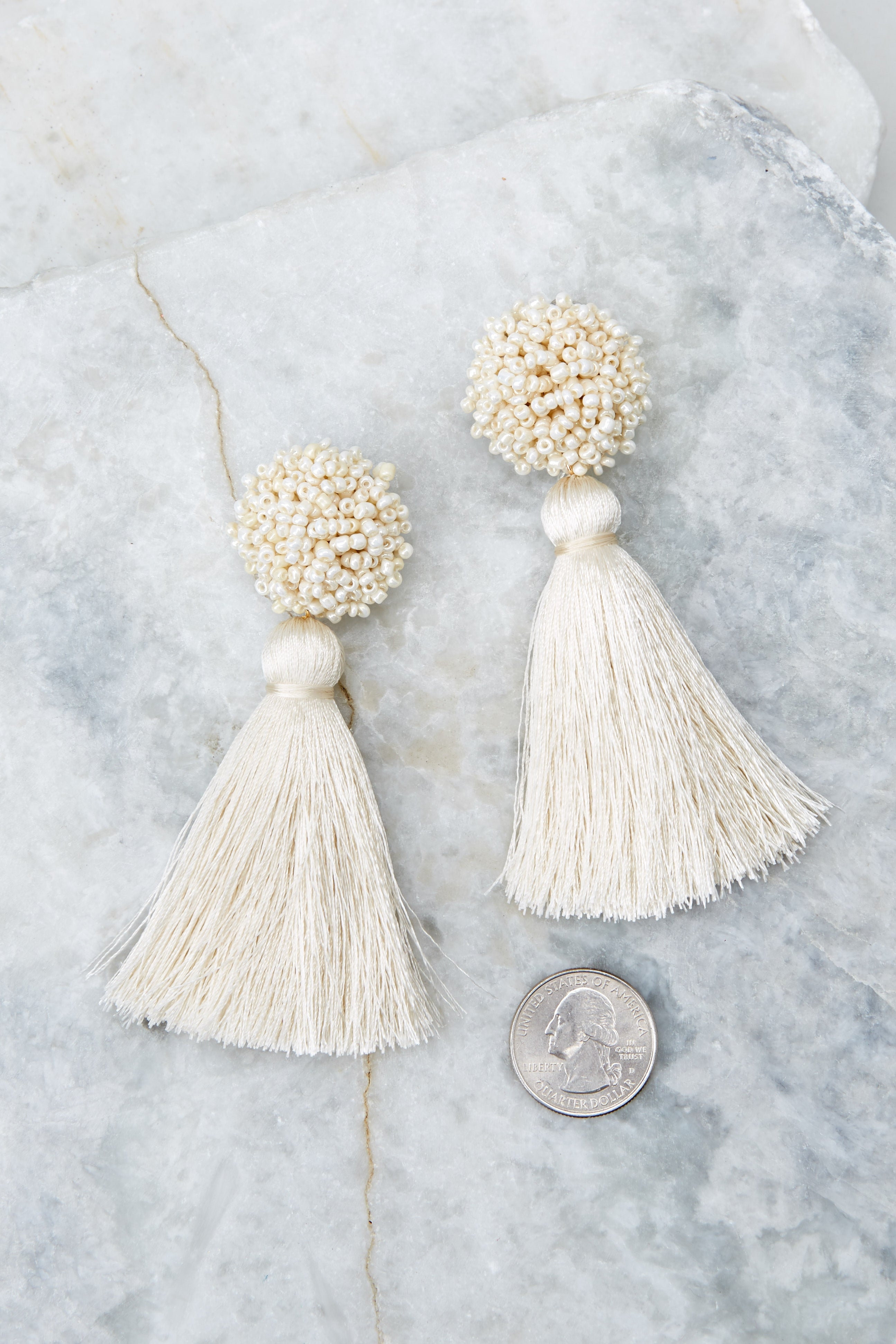 3 Give Me It All Ivory Statement Earrings at reddressboutique.com