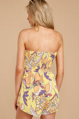 7 Clearly Devoted Yellow Multi Print Romper at reddressboutique.com