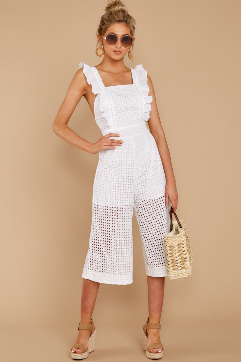 2 Chill With You White Eyelet Midi Jumpsuit at reddressboutique.com