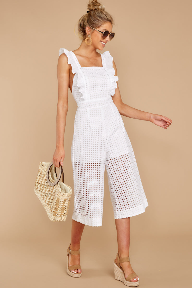 3 Chill With You White Eyelet Midi Jumpsuit at reddressboutique.com