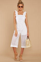 4 Chill With You White Eyelet Midi Jumpsuit at reddressboutique.com