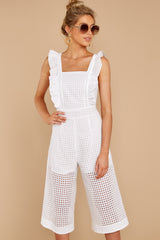 5 Chill With You White Eyelet Midi Jumpsuit at reddressboutique.com