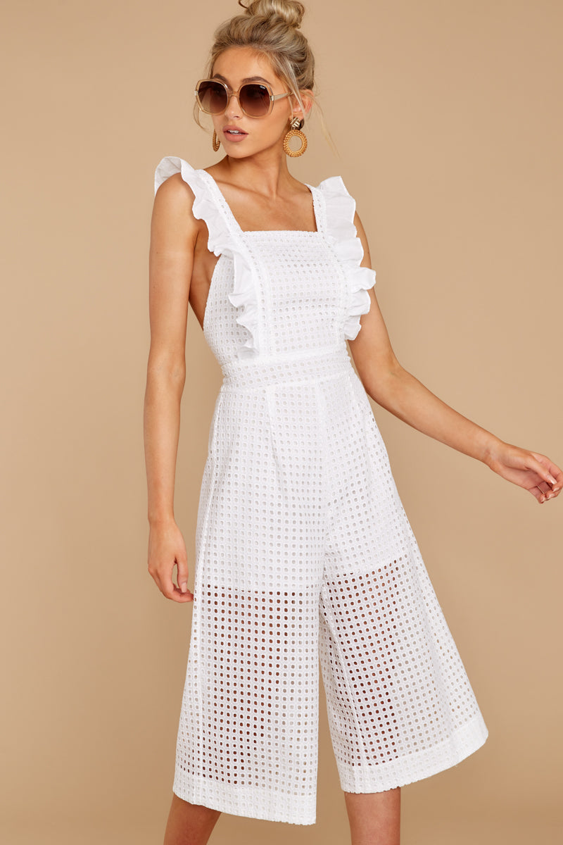 6 Chill With You White Eyelet Midi Jumpsuit at reddressboutique.com