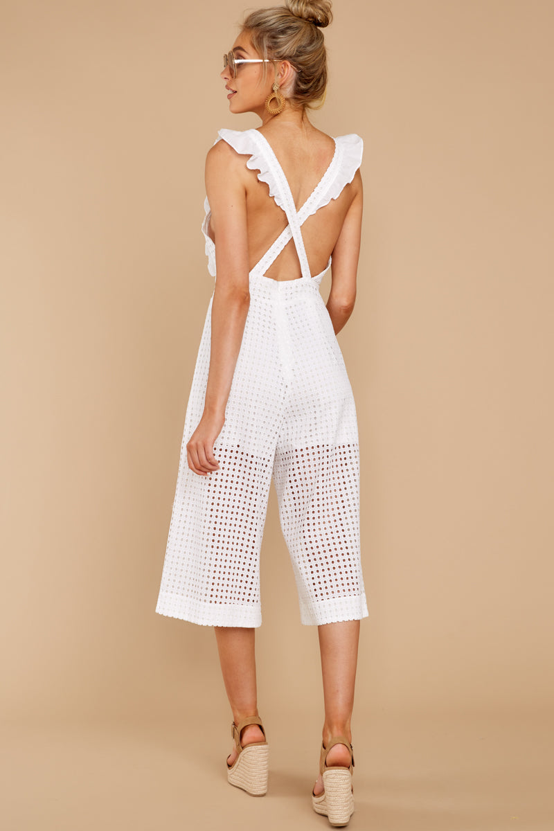 7 Chill With You White Eyelet Midi Jumpsuit at reddressboutique.com