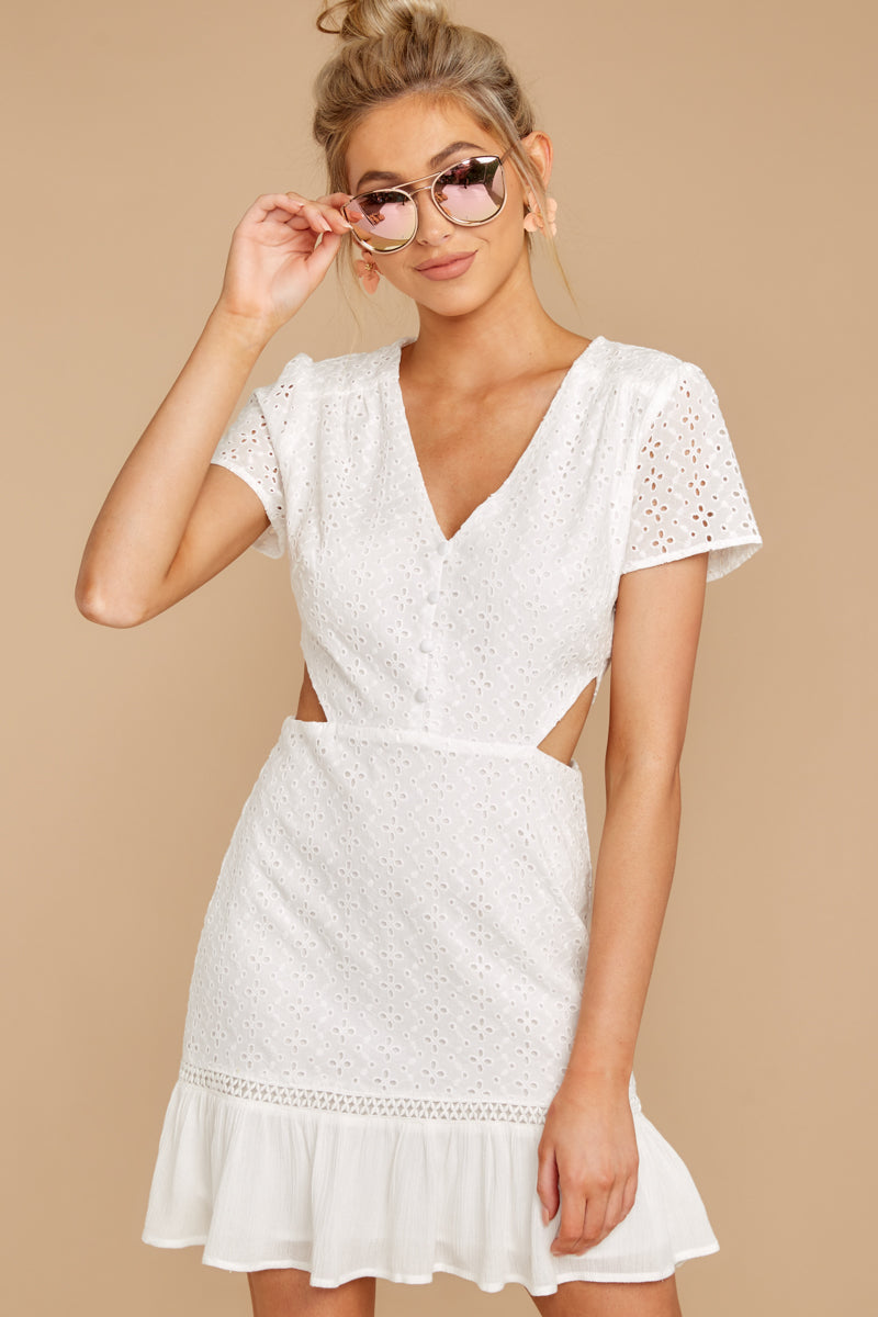 4 Keep Loving White Eyelet Dress at reddressboutique.com