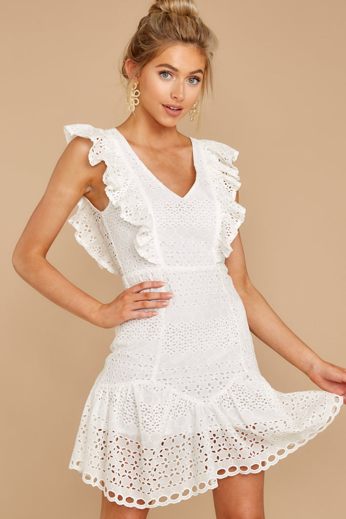 5 Keep Loving White Eyelet Dress at reddressboutique.com