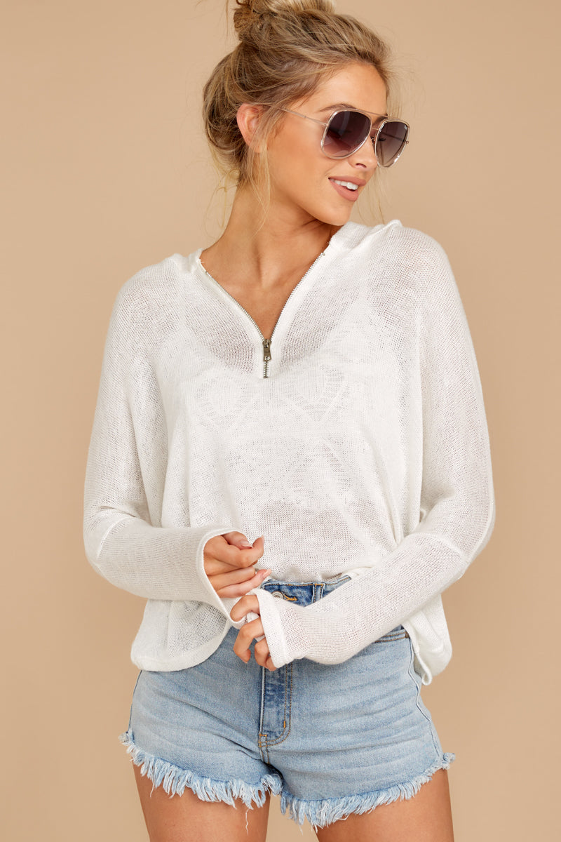 5 Close To Me White Quarter Zip Hooded Sweatshirt at reddressboutique.com