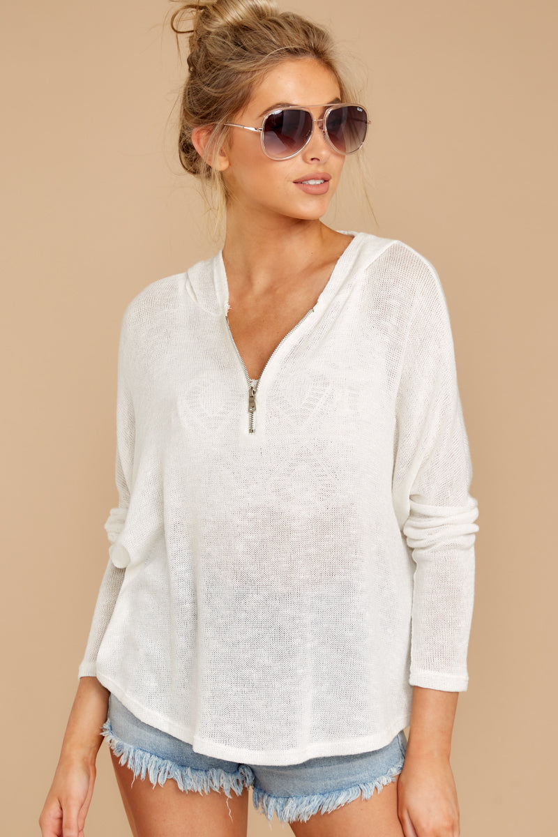 7 Close To Me White Quarter Zip Hooded Sweatshirt at reddressboutique.com