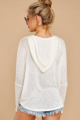 8 Close To Me White Quarter Zip Hooded Sweatshirt at reddressboutique.com
