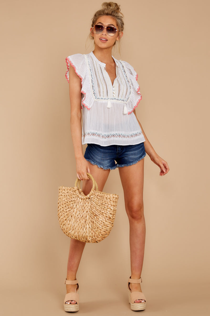 f26c6508c3183d Darling White Embellished Top - Sleeveless Lace Blouse - Shirt - $52 ...