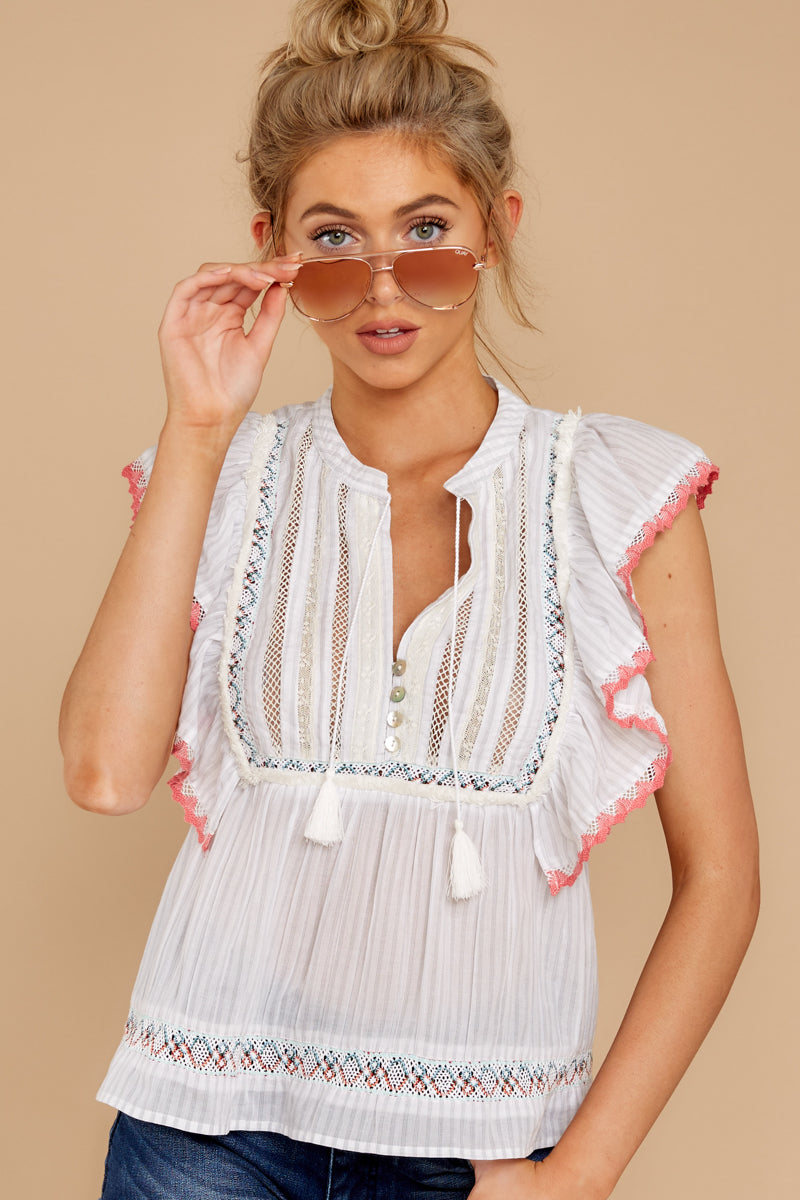 Le Fay Wishes White Embroidered Top