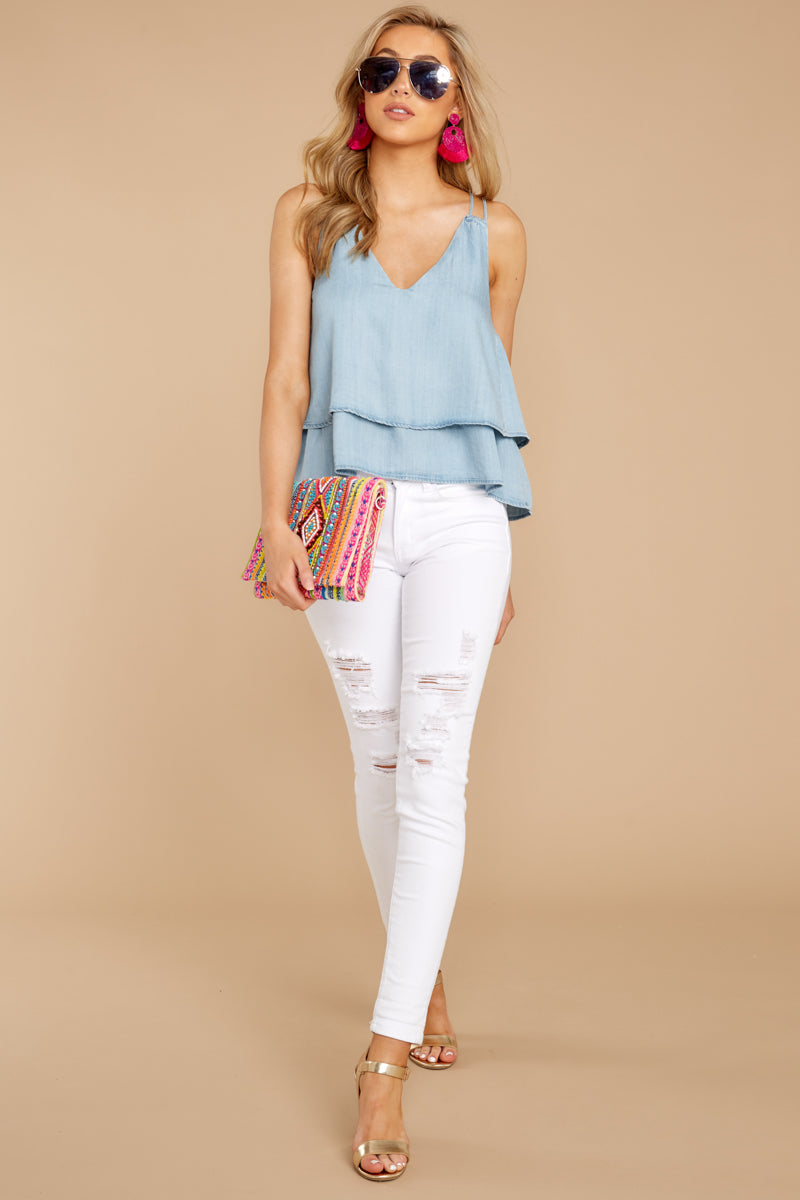 3 Through The Air Light Chambray Tank Top at reddressboutique.com