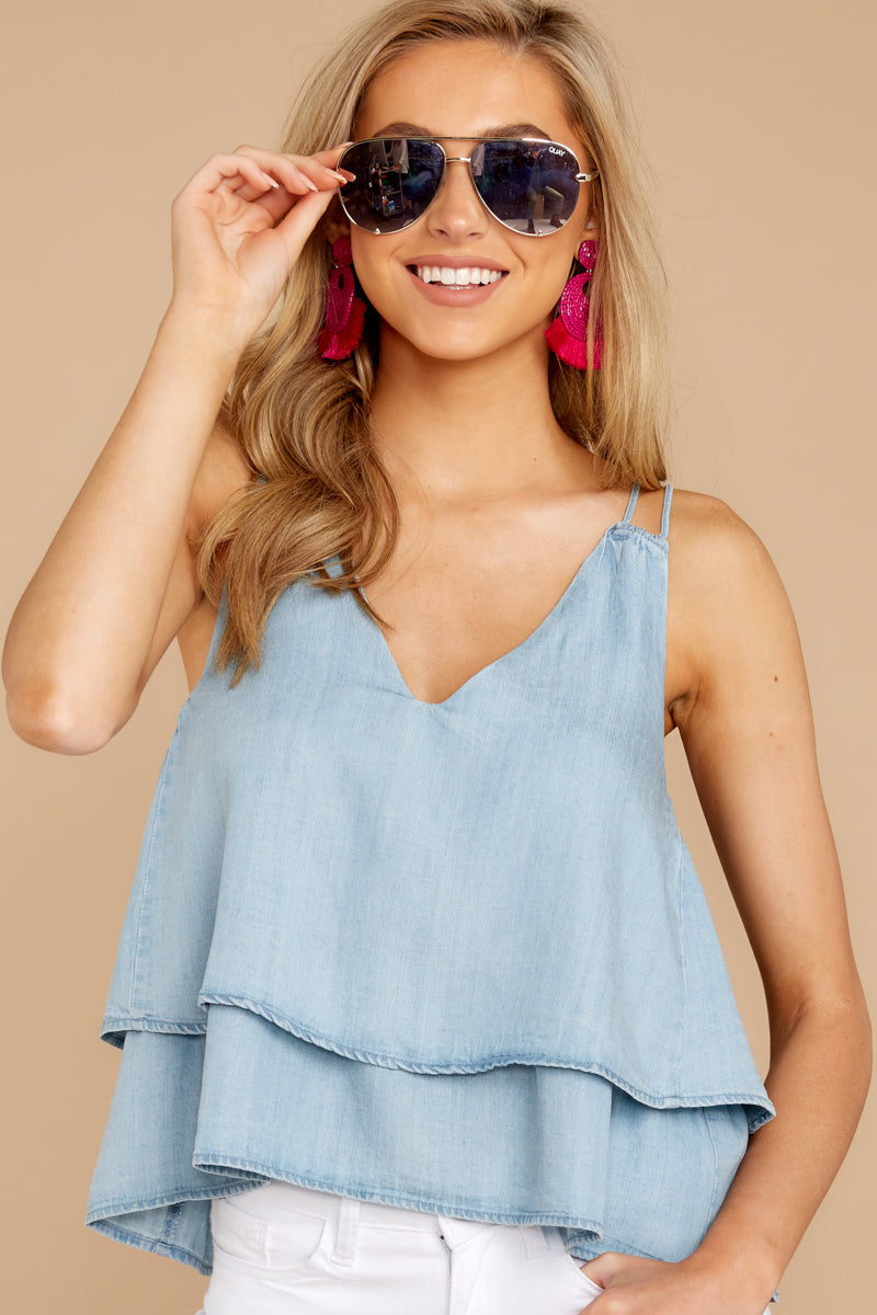 4 Through The Air Light Chambray Tank Top at reddressboutique.com