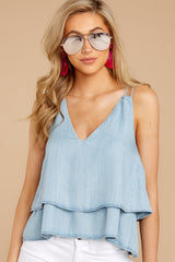 5 Through The Air Light Chambray Tank Top at reddressboutique.com