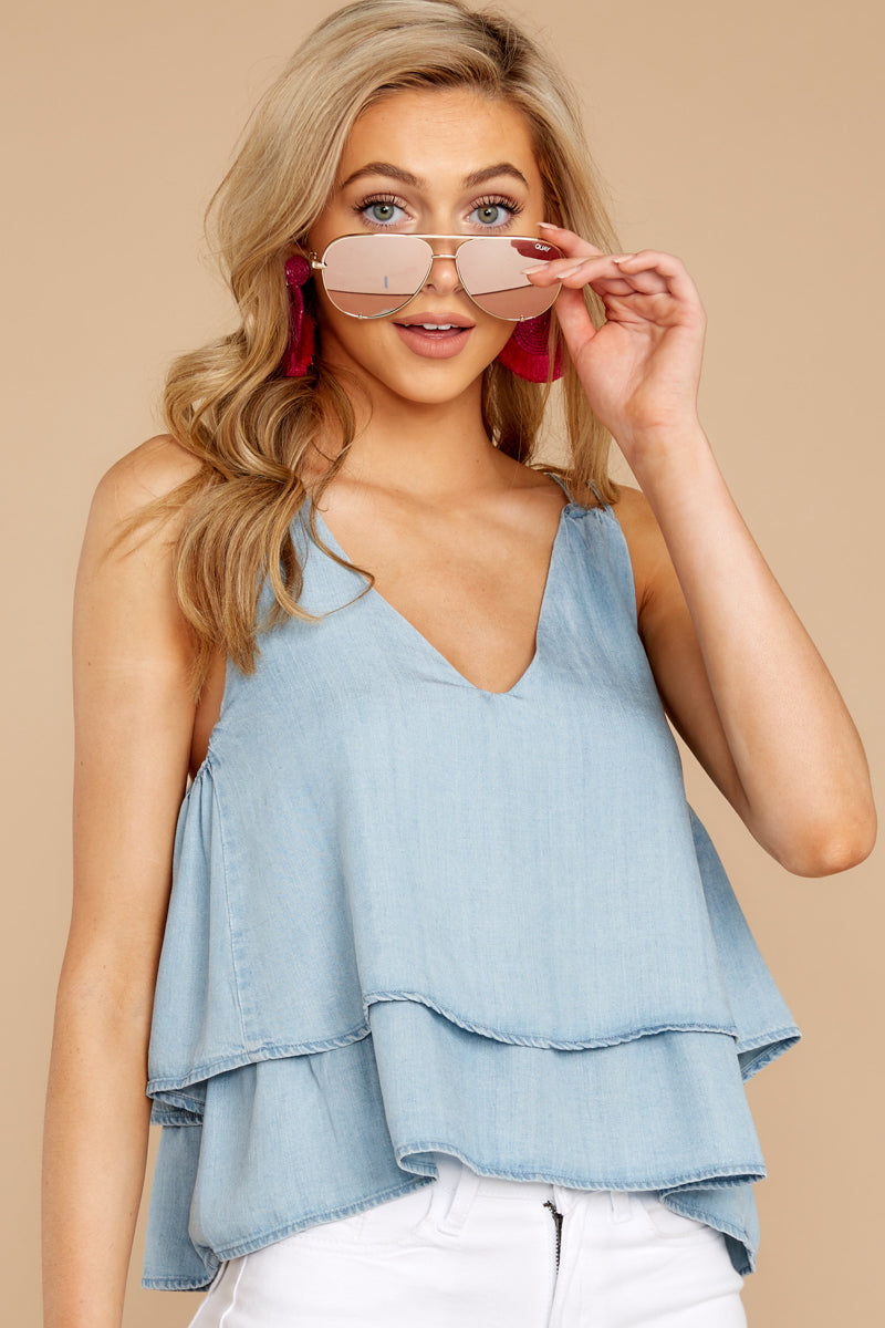 6 Through The Air Light Chambray Tank Top at reddressboutique.com