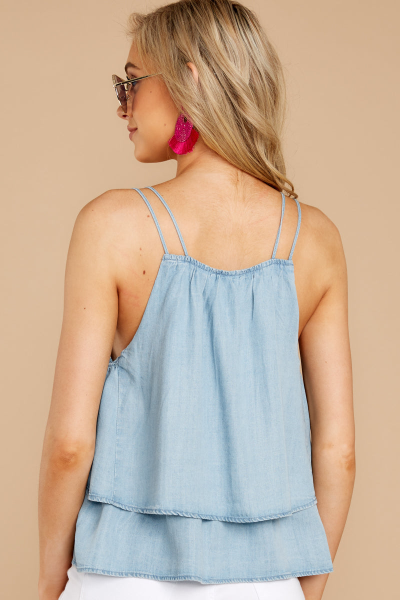 7 Through The Air Light Chambray Tank Top at reddressboutique.com