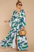 Tall V-neck Drawstring Slit Polyester Empire Waistline General Print Dolman Sleeves Maxi Dress