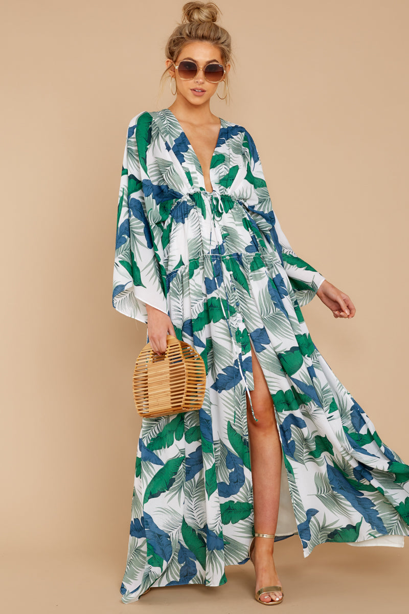 2 Until We Meet Again Blue And Green Palm Print Maxi Dress at reddressboutique.com