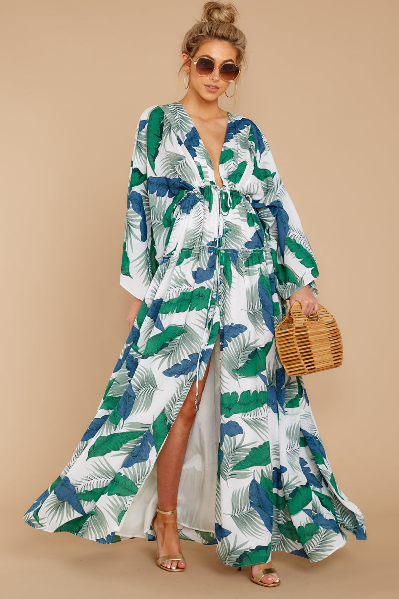 3 Until We Meet Again Blue And Green Palm Print Maxi Dress at reddressboutique.com