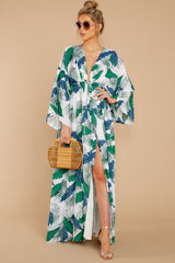 4 Until We Meet Again Blue And Green Palm Print Maxi Dress at reddressboutique.com