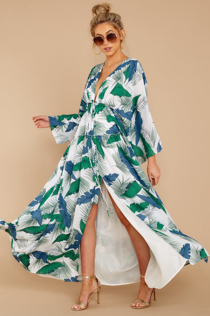 5 Until We Meet Again Blue And Green Palm Print Maxi Dress at reddressboutique.com