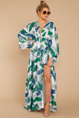 6 Until We Meet Again Blue And Green Palm Print Maxi Dress at reddressboutique.com
