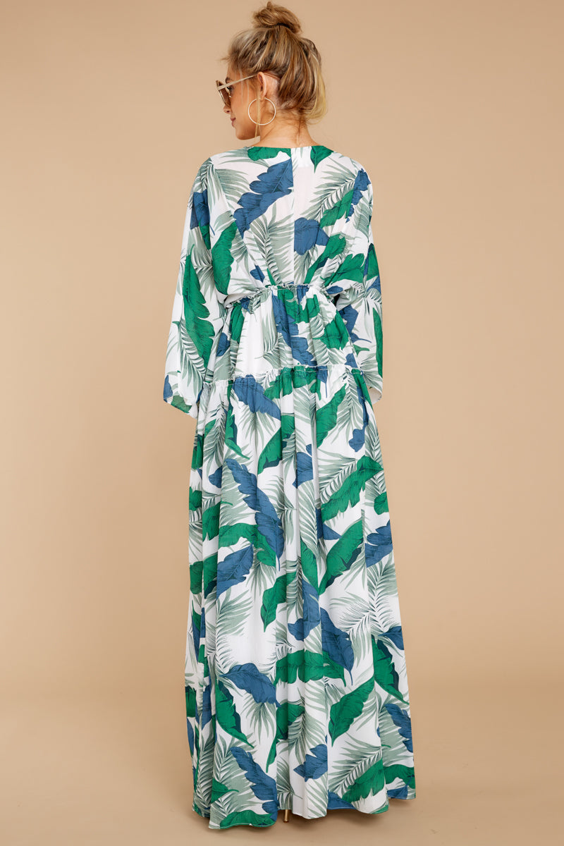7 Until We Meet Again Blue And Green Palm Print Maxi Dress at reddressboutique.com