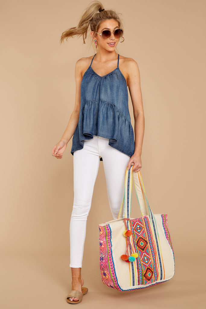 Shore Looks Good Pink Multi Embroidered Tote