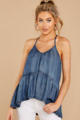 Turn Up The Music Dark Chambray Top