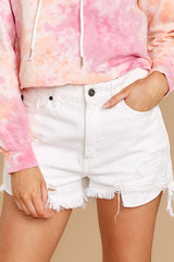 2 Already Here White Distressed Denim Shorts at reddress.com