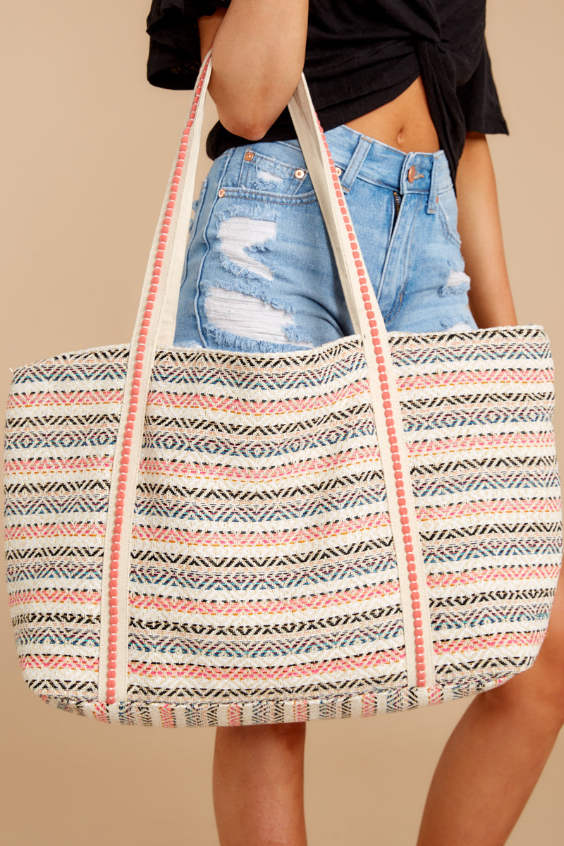 2 Mexicana Sunrise Pink Embroidered Tote at reddressboutique.com
