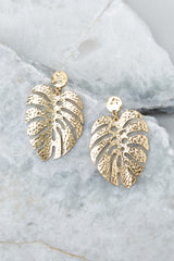 2 No Stress Gold Leaf Earrings at reddress.com