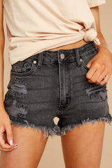 1088 Above The Others Black Distressed Denim Shorts at reddress.com