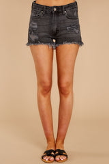 1089 Above The Others Black Distressed Denim Shorts at reddress.com