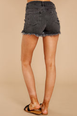 1090 Above The Others Black Distressed Denim Shorts at reddress.com