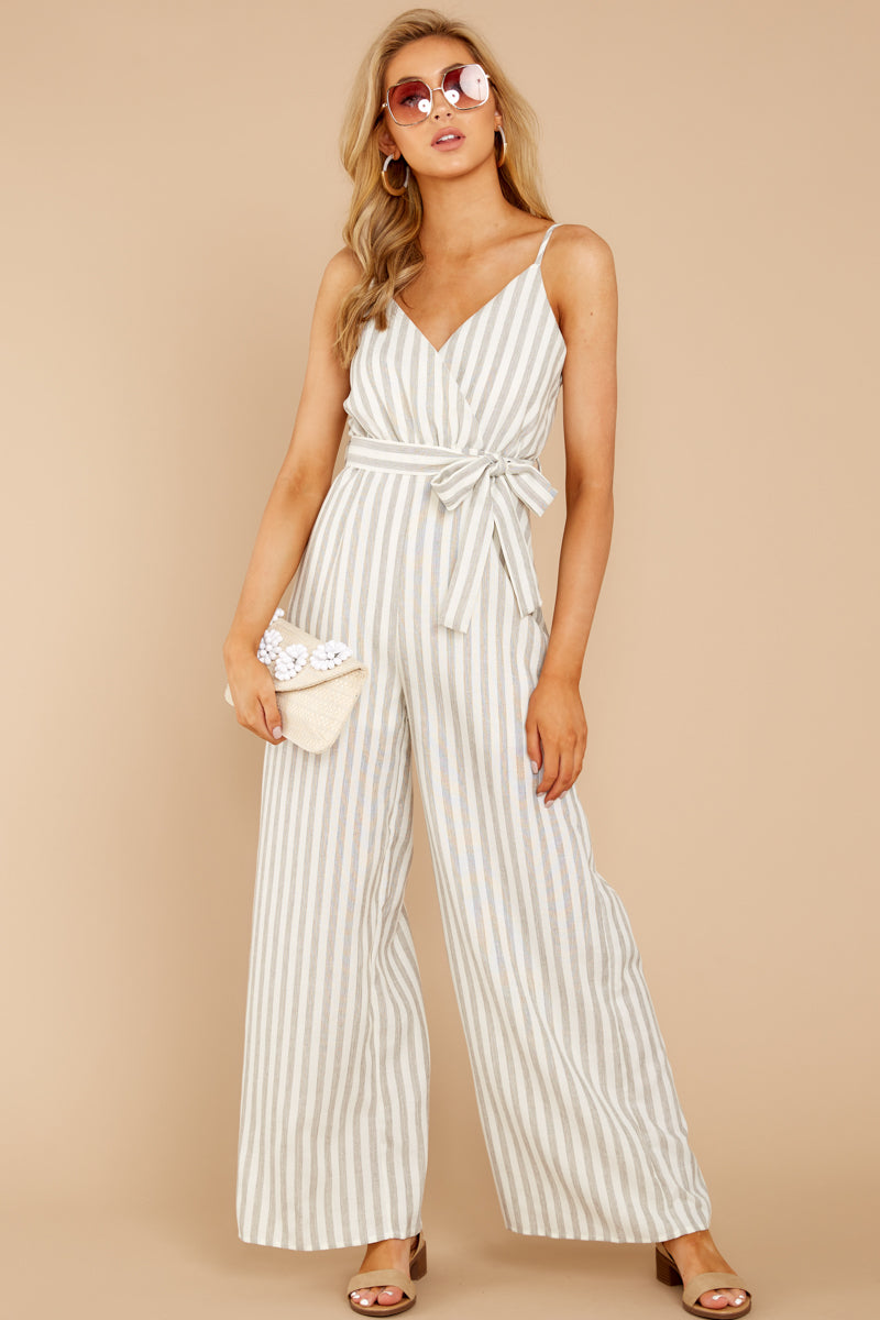 1 Gift Of Living Taupe Stripe Jumpsuit at reddress.com