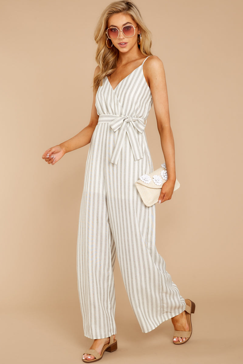 2 Gift Of Living Taupe Stripe Jumpsuit at reddress.com