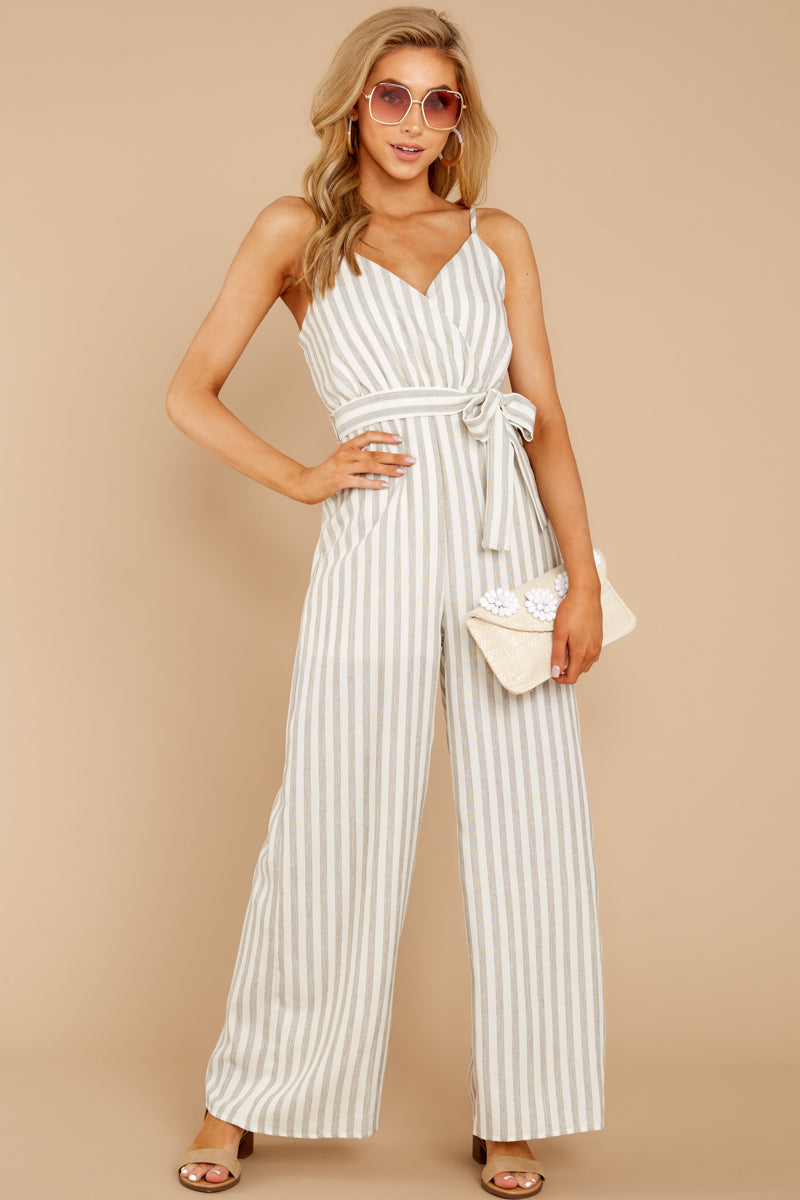 3 Gift Of Living Taupe Stripe Jumpsuit at reddress.com