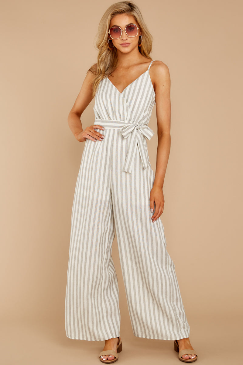4 Gift Of Living Taupe Stripe Jumpsuit at reddress.com