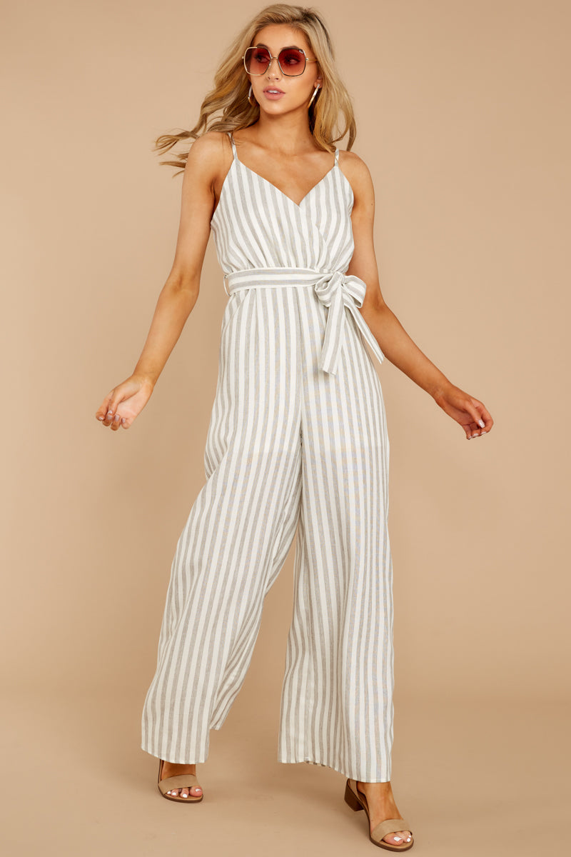 5 Gift Of Living Taupe Stripe Jumpsuit at reddress.com