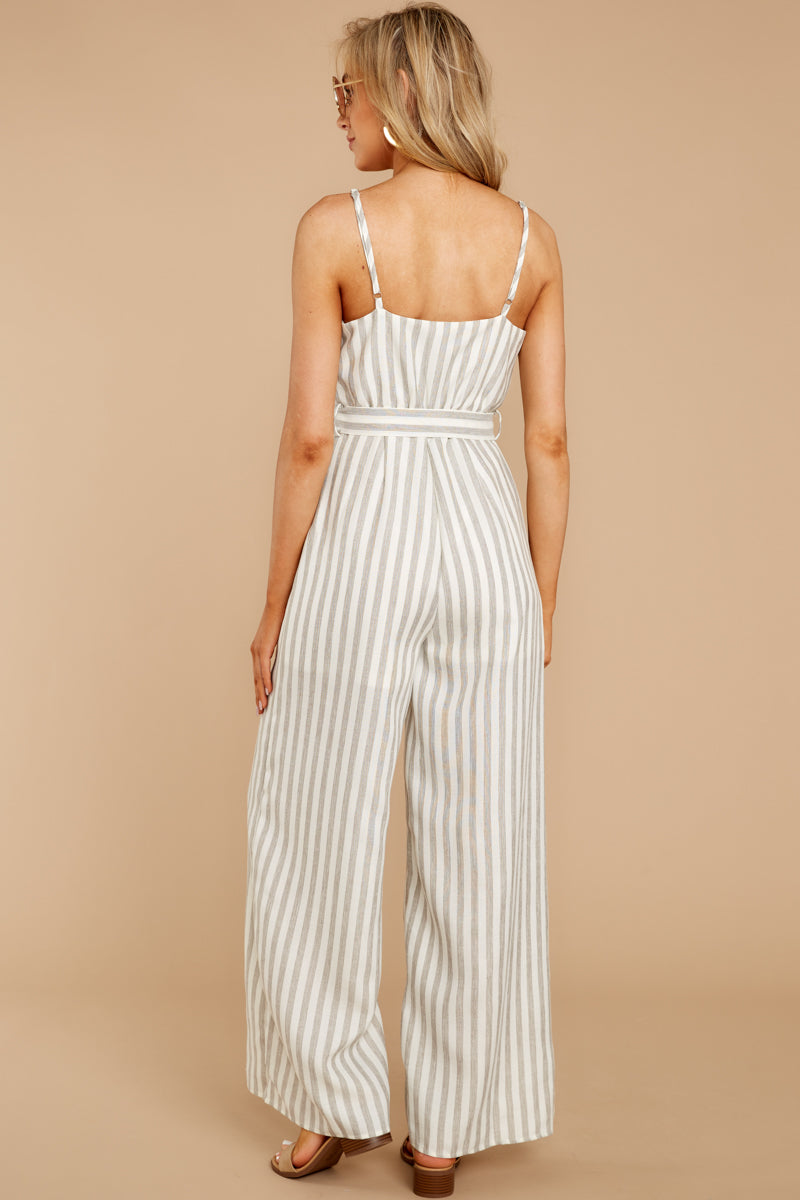 6 Gift Of Living Taupe Stripe Jumpsuit at reddress.com