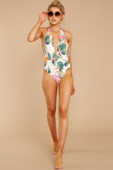 2 Southern Hemisphere Ivory Tropical Print One Piece at reddressboutique.com