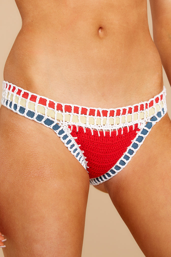 1 Catch A Wave Red Bikini Bottoms at reddressboutique.com